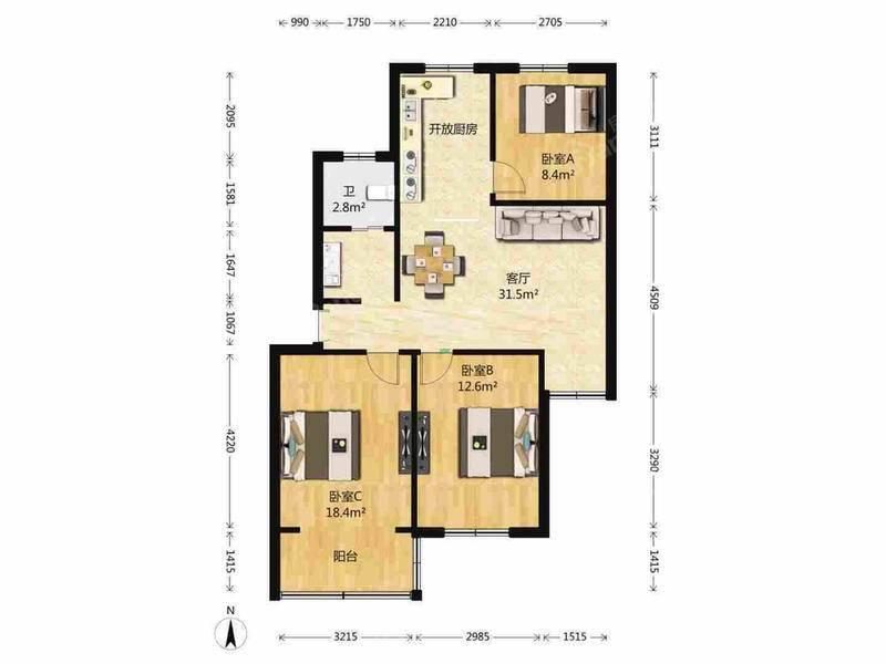 近地铁小三房,户型紧凑,房东急卖,满五年唯一,性价比高 户型图