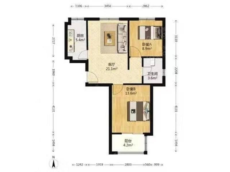 星华园,二房毛坯,中高楼层,环境优美,观景房,近万达,好看房 户型图