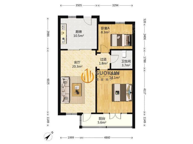 恒业公寓二期花园小高层,南北通两房,精装自住,房东自住看房方 户型图