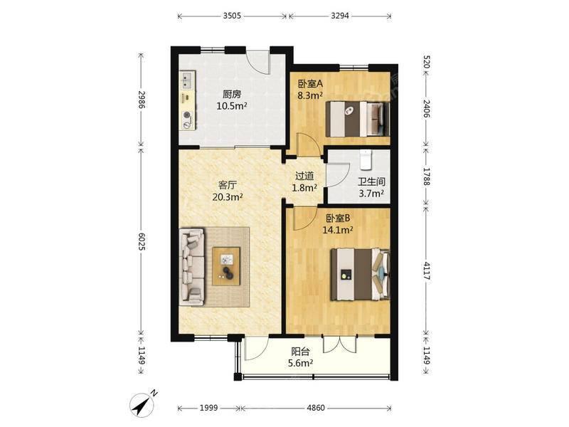 恒业公寓 2居 户型图