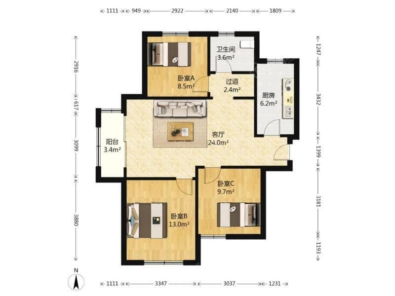 粤秀名邸 3居 户型图