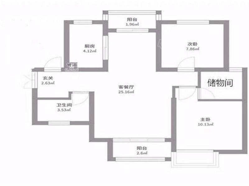 鑫苑大都汇大两室 带储物间 适合家里有老人居住  装修不错 户型图