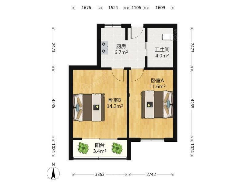 中间楼层 双南两房 位置好 总价低 周边很稀缺户型 随时看房 户型图