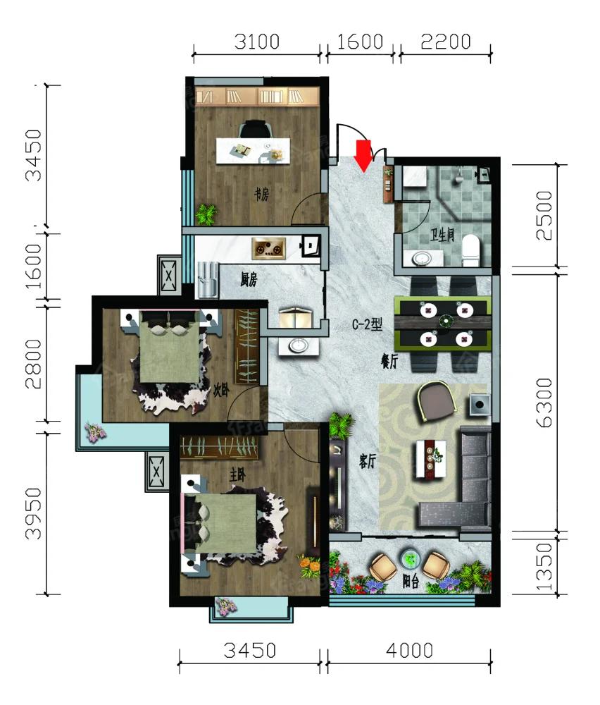 凤凰名都3室2厅1卫户型图