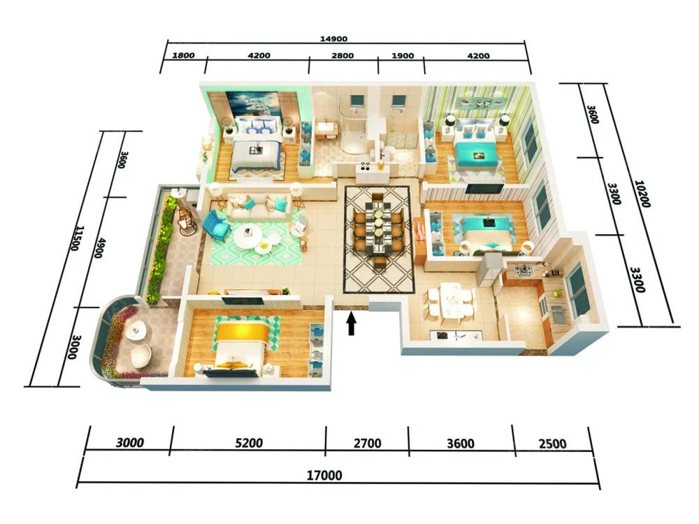 万盛·银时代4室2厅2卫户型图