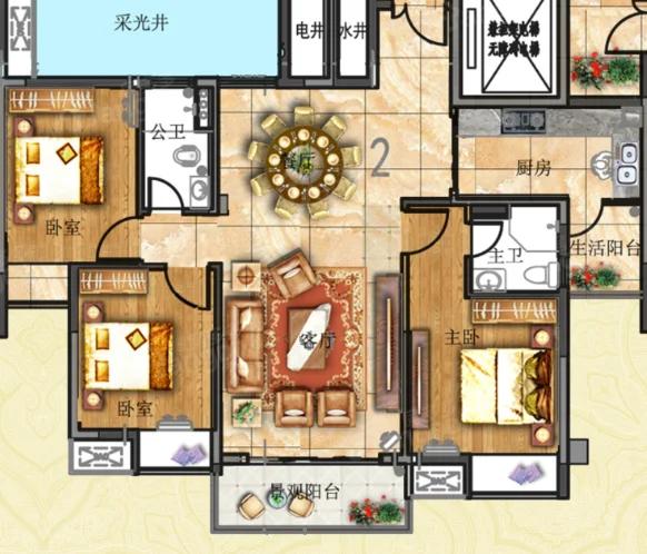平城花园3期3室2厅2卫户型图