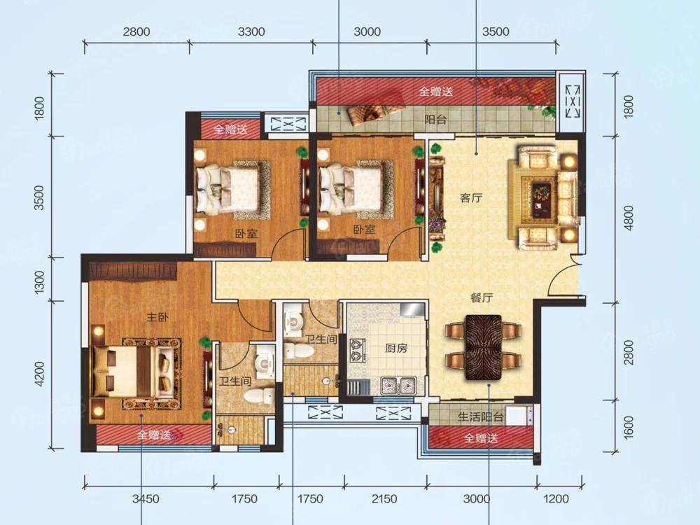 正德玥珑山3室2厅2卫户型图