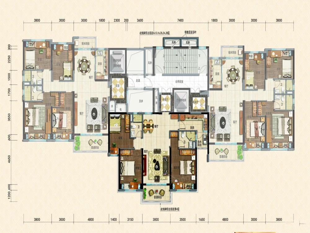 碣石半岛碧桂园3室2厅2卫户型图
