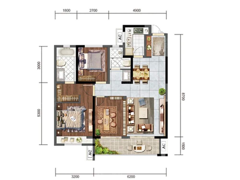 电建地产·安康洺悦府3室2厅2卫户型图