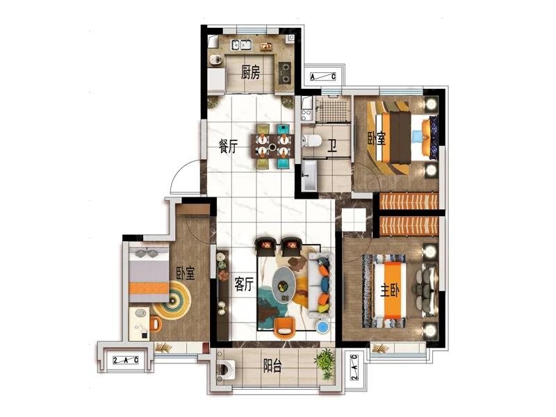 碧桂园·悦北城3室2厅1卫户型图