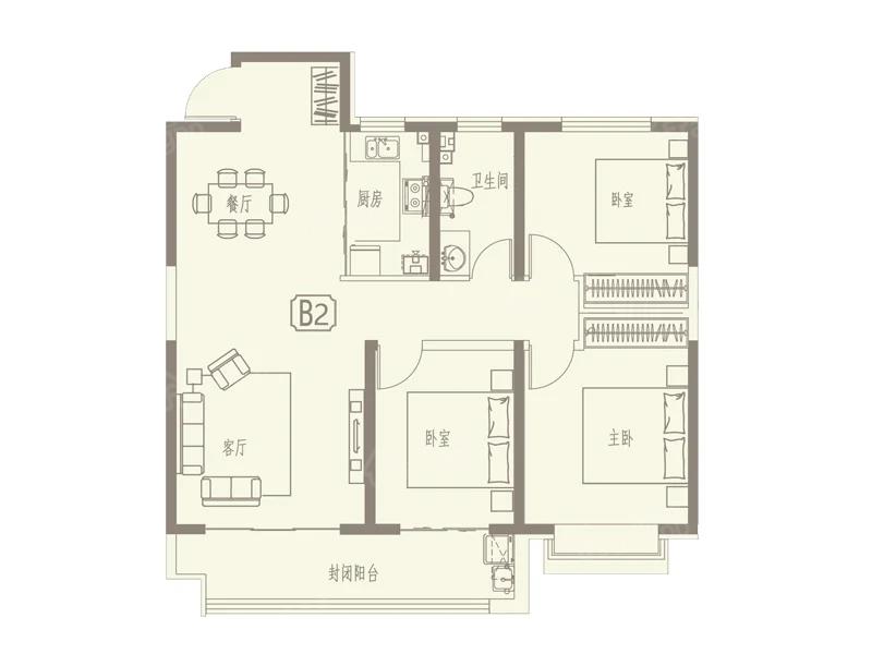 京博·儒苑上邦3室2厅1卫户型图