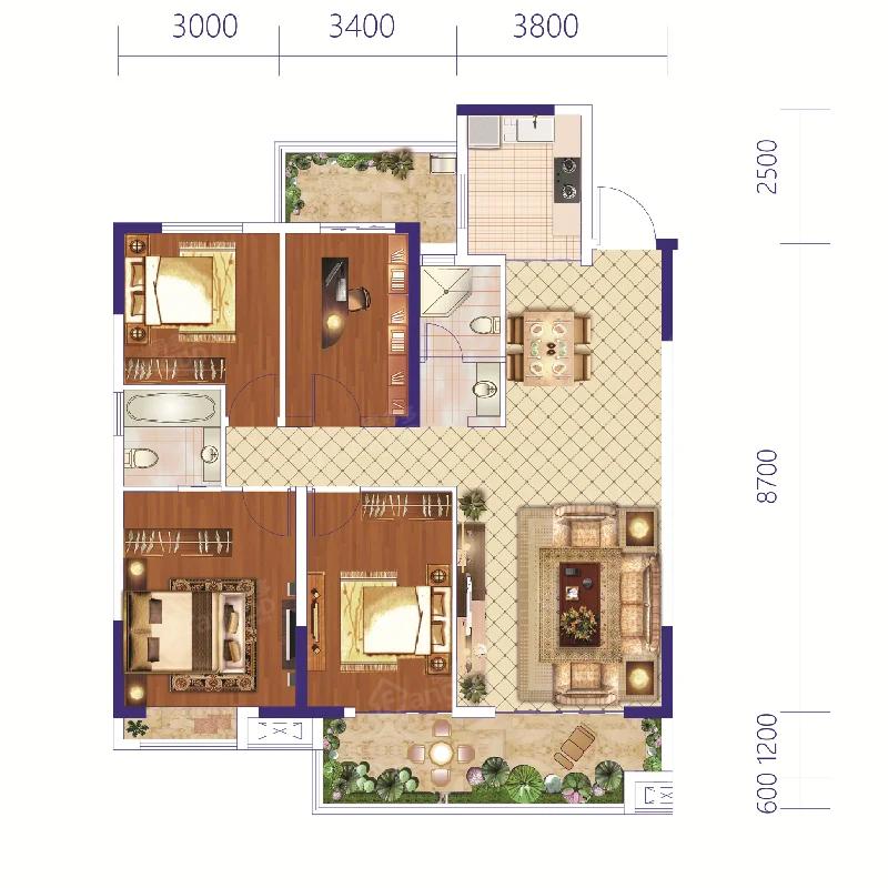 未来城4室2厅2卫户型图