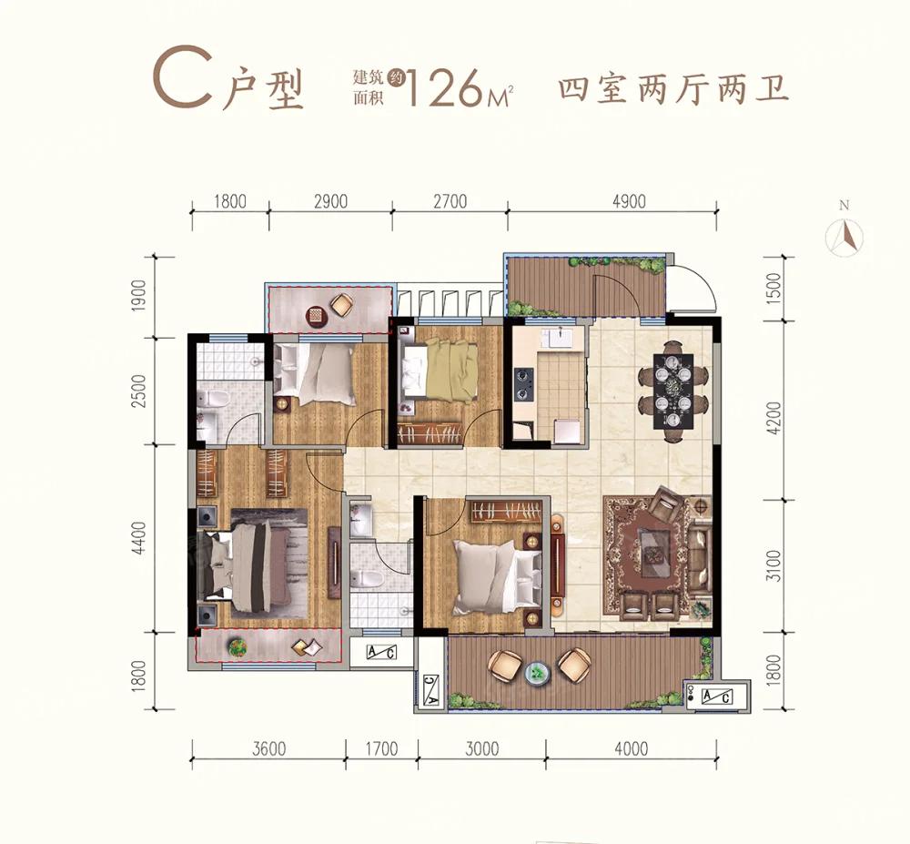 九铭云府4室2厅2卫户型图