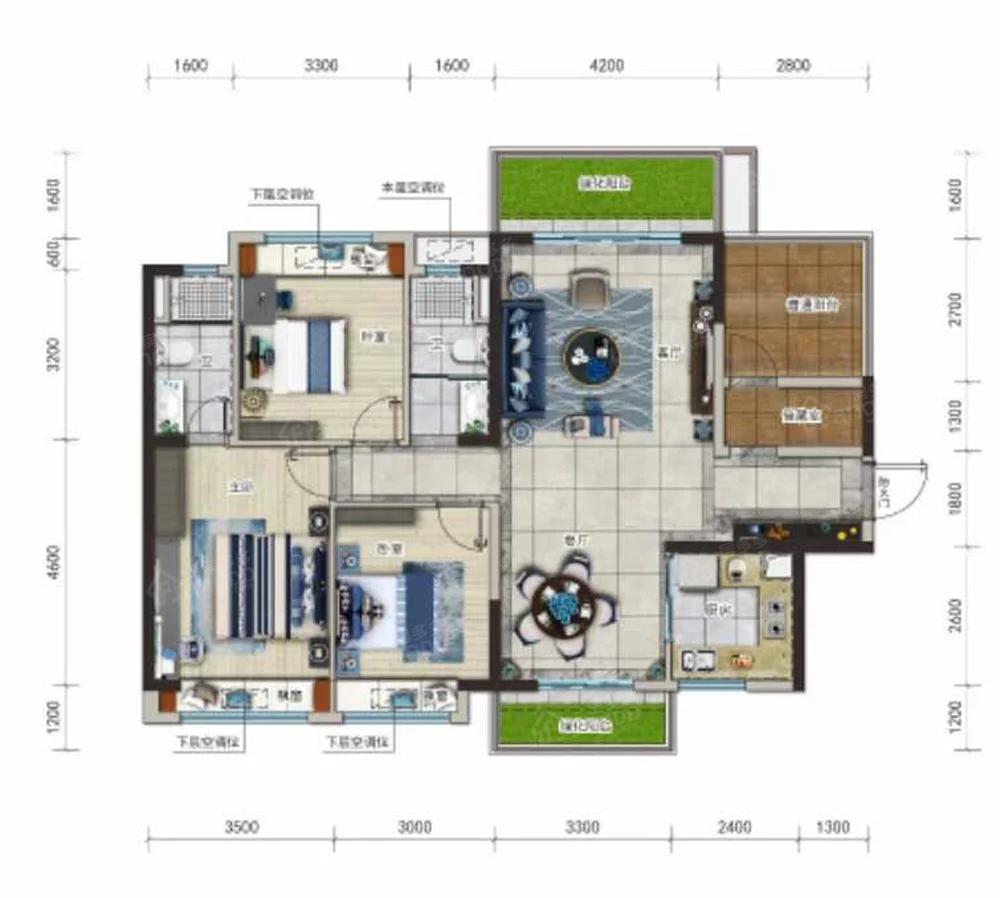 崇左碧桂园公园上城3室2厅2卫户型图