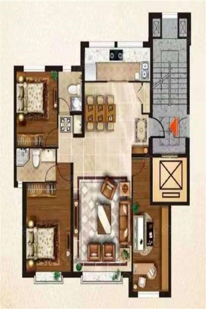 金海公馆3室2厅2卫户型图