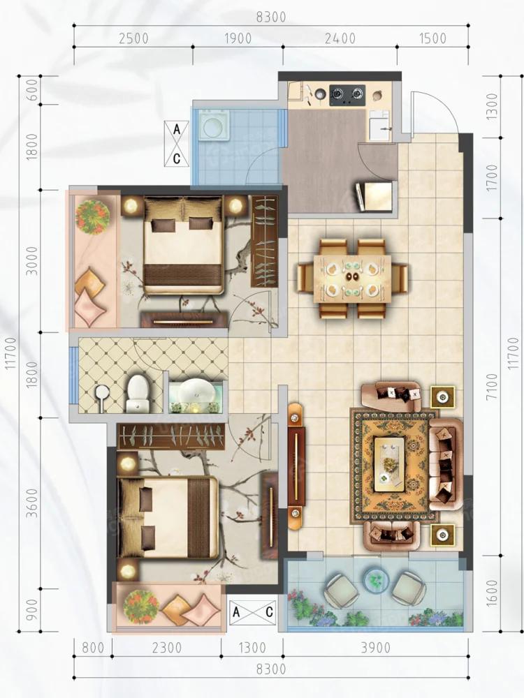 攀东雅居2室2厅1卫户型图