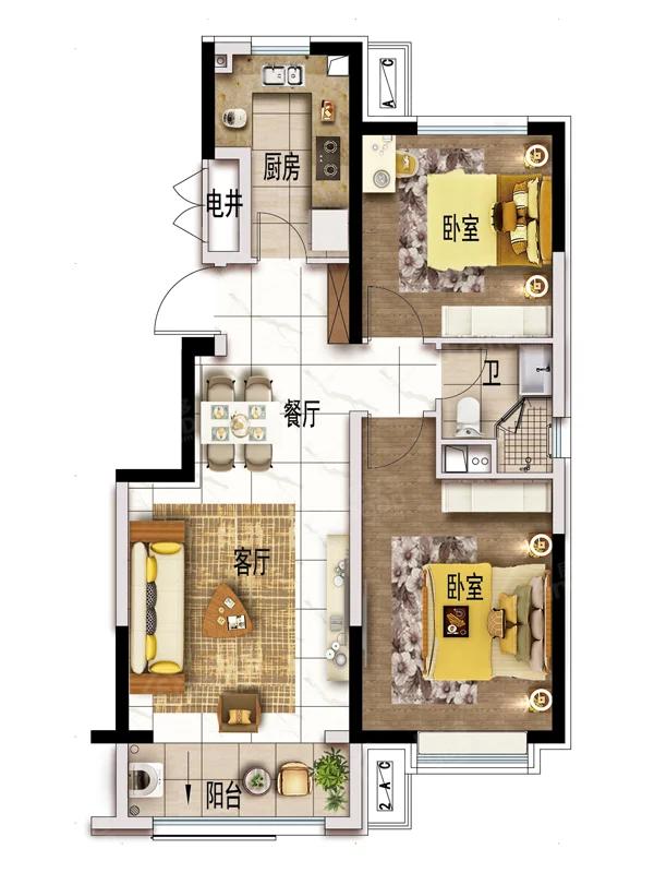碧桂园·悦北城2室2厅1卫户型图