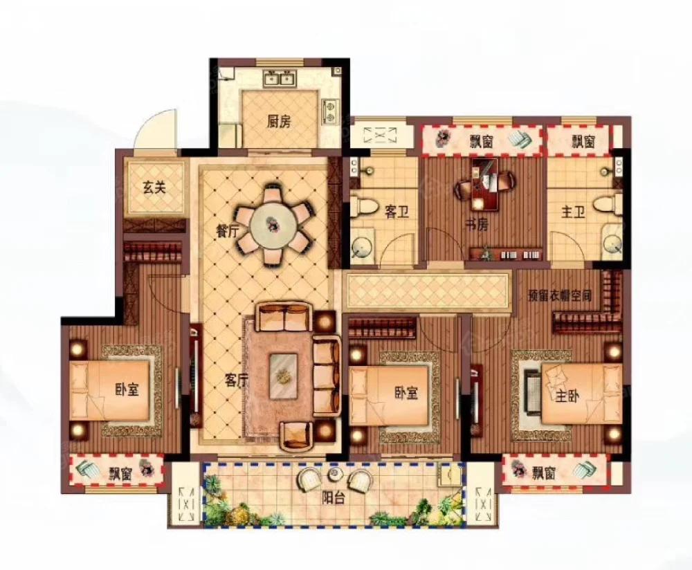 新城亳州玺樾府4室2厅2卫户型图