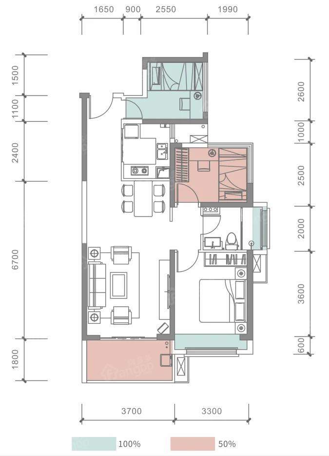 海怡湾3室2厅1卫户型图