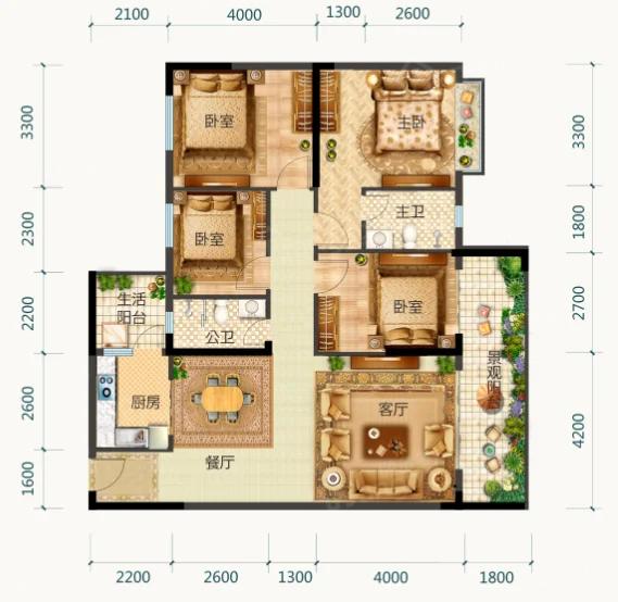 御园中央城4室2厅2卫户型图