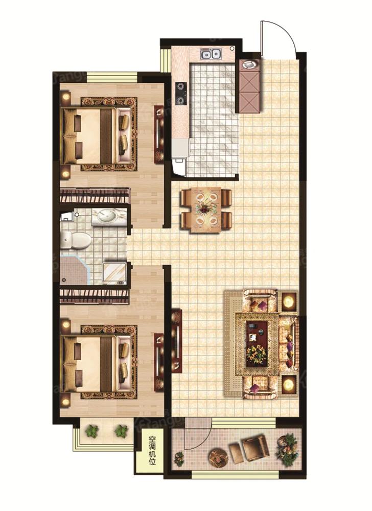 澳海御景苑2室2厅1卫户型图