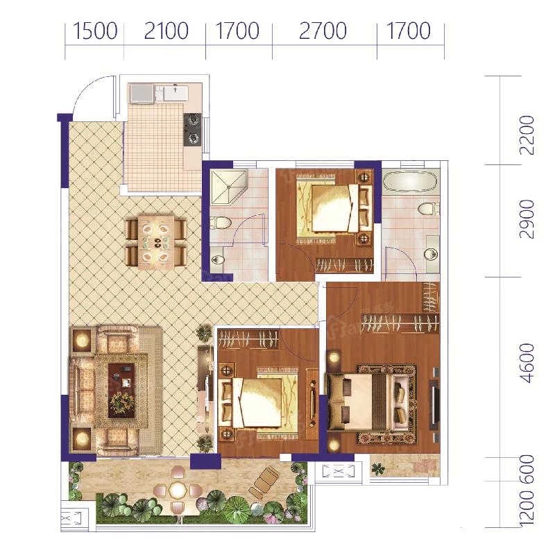 未来城3室2厅2卫户型图