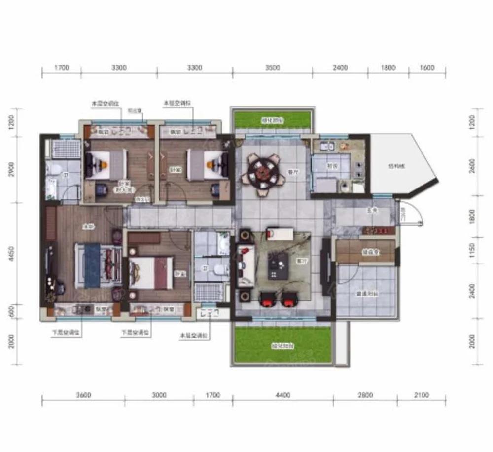 崇左碧桂园公园上城4室2厅2卫户型图