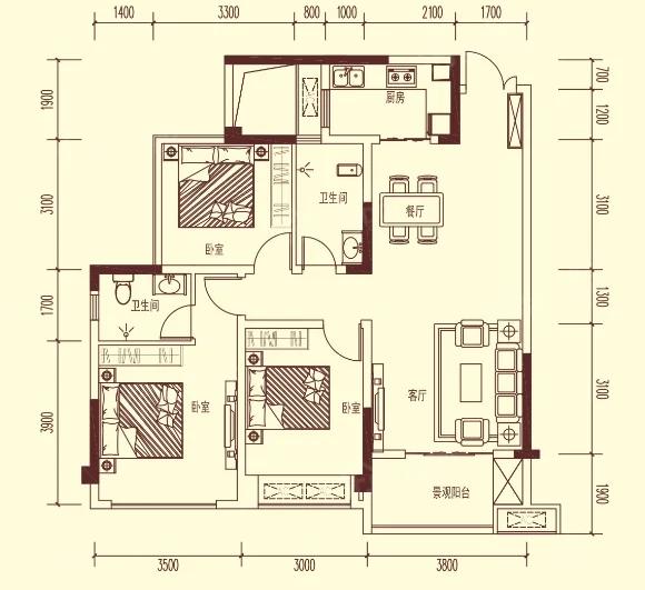 兴合半山逸城二期3室2厅2卫户型图