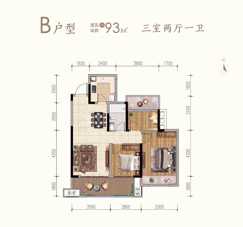 九铭云府3室2厅1卫户型图