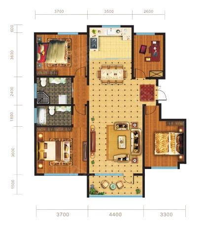 锦坤·橙郡4室2厅2卫户型图
