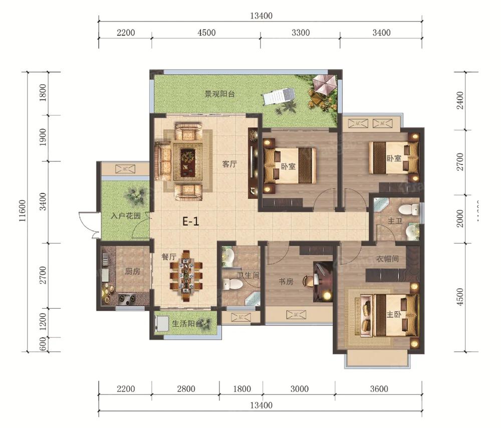 海悦现代城4室2厅2卫户型图