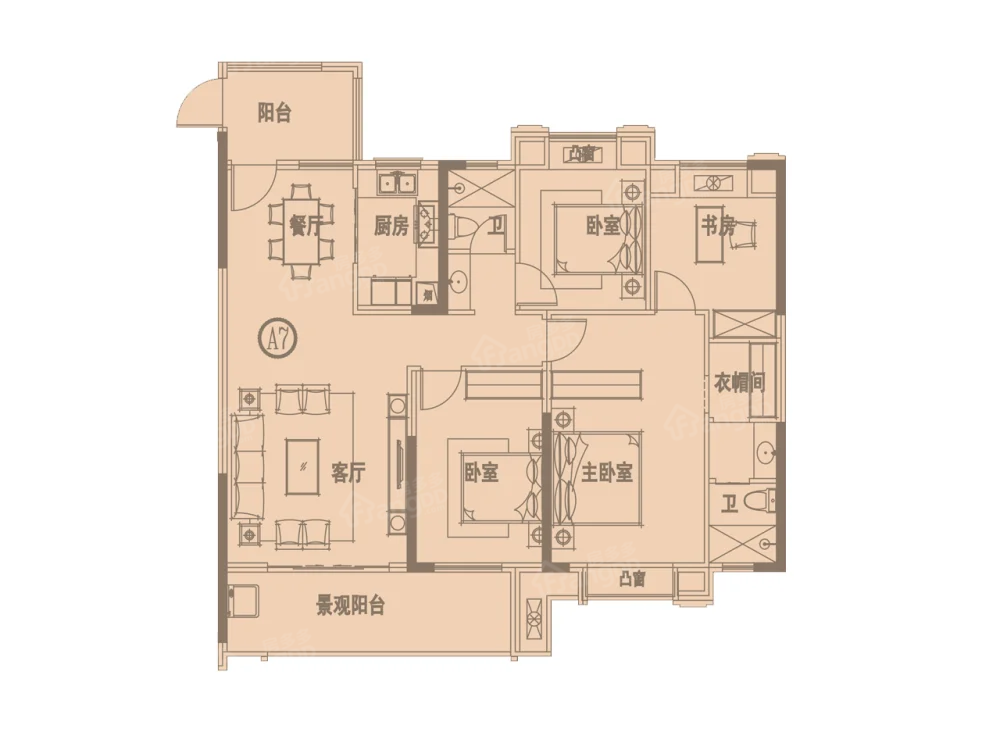 凤凰香榭4室2厅2卫户型图