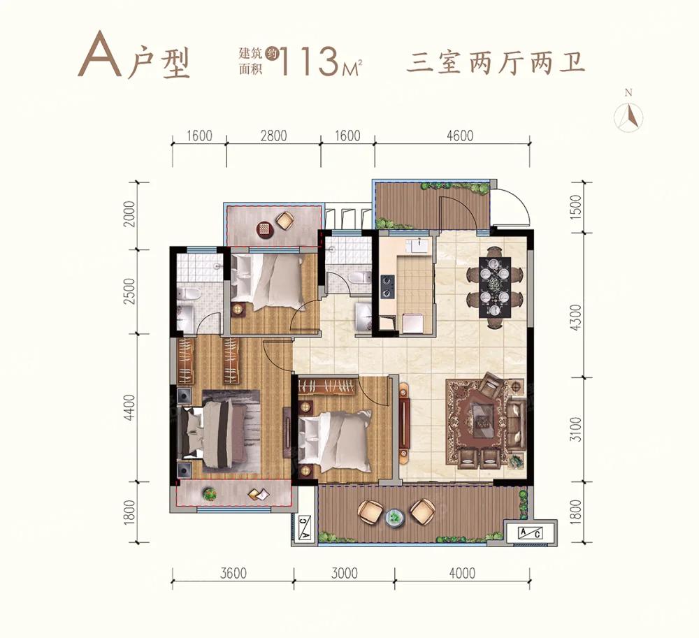 九铭云府3室2厅2卫户型图