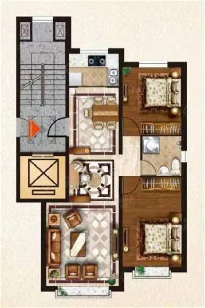 金海公馆2室2厅1卫户型图