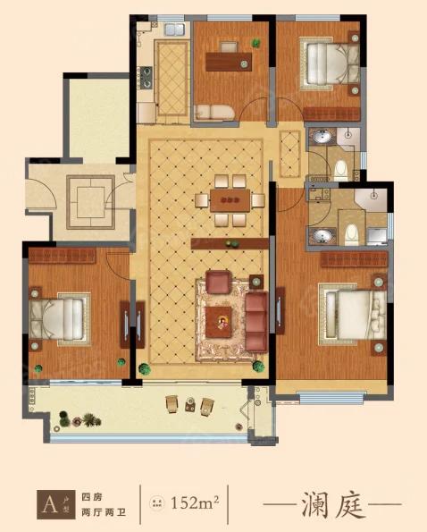 山能德圣·巨山花园4室2厅2卫户型图