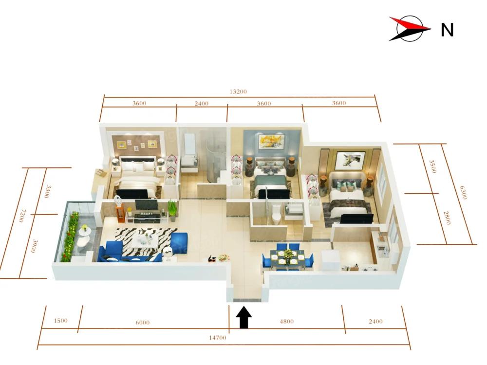 万盛·银时代3室2厅2卫户型图