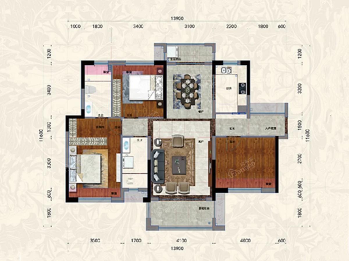 家喻五洲名门3室2厅2卫户型图