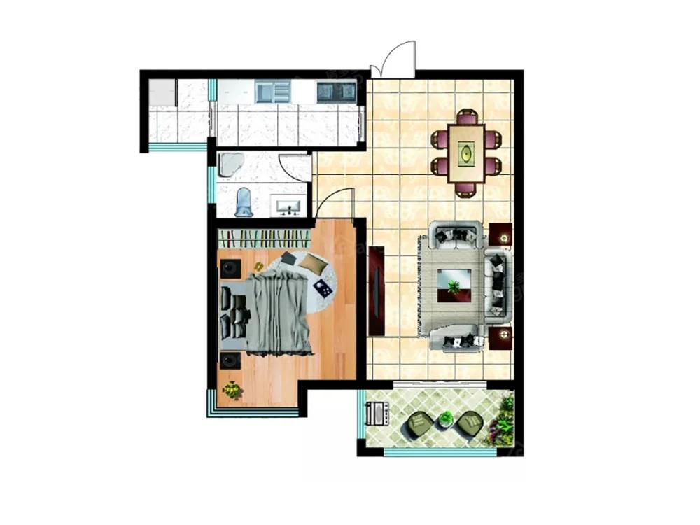 永基状元府1室2厅1卫户型图