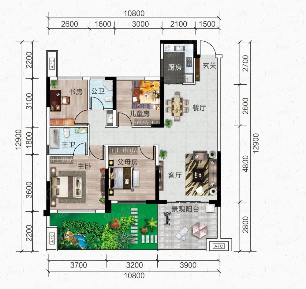 玉林中鼎城4室2厅2卫户型图