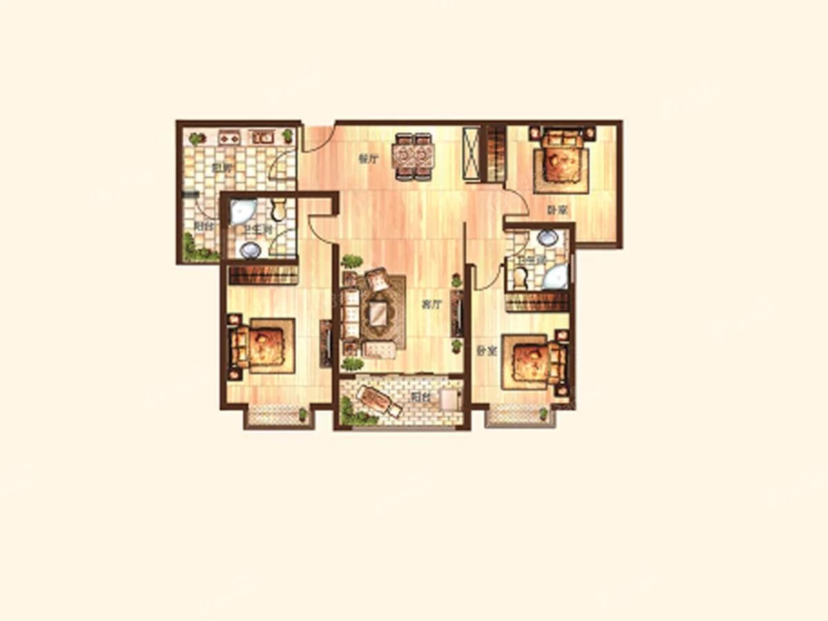 淇水佳园3室2厅2卫户型图