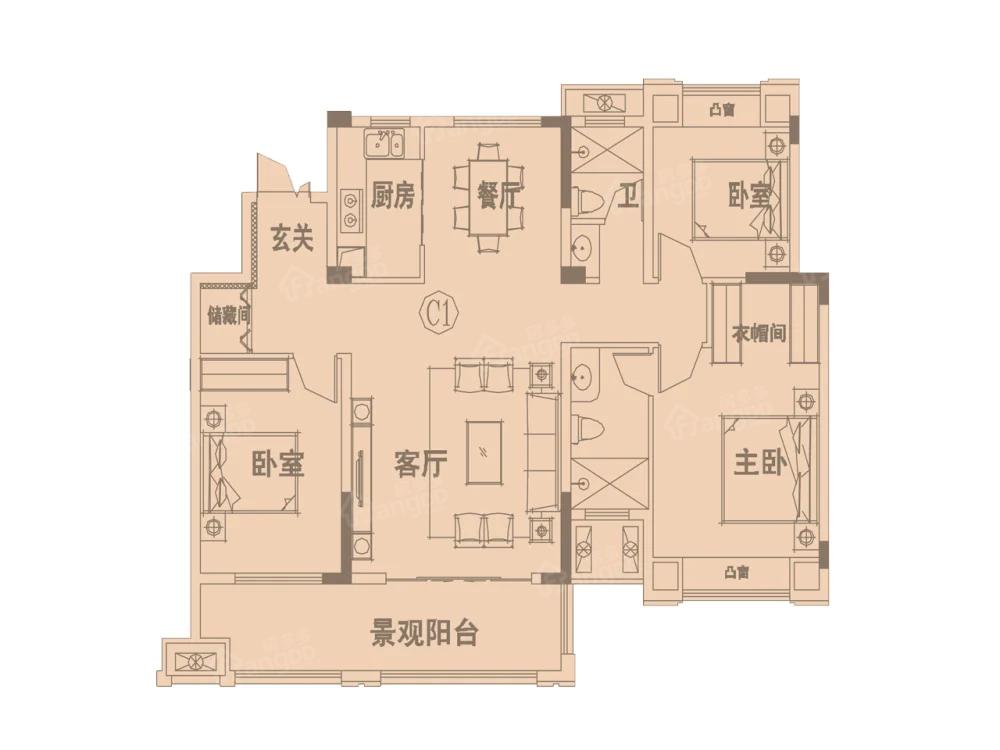 凤凰香榭3室2厅2卫户型图