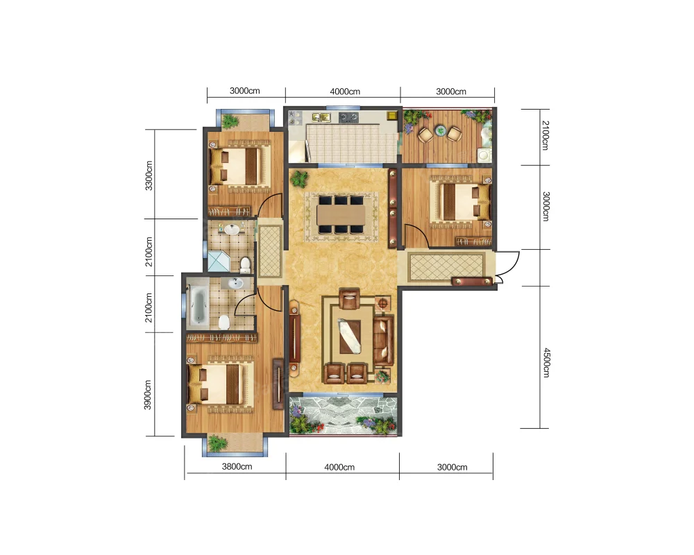 天籁雅居3室2厅2卫户型图