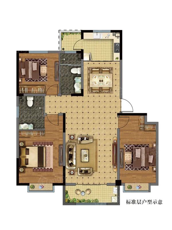 京博·儒苑上邦3室2厅2卫户型图