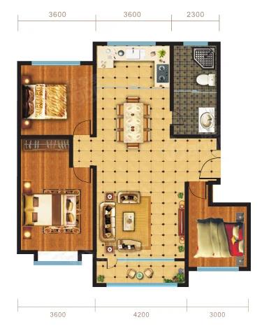 锦坤·橙郡3室2厅1卫户型图