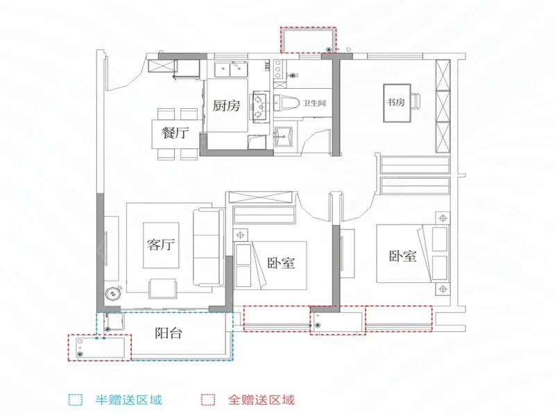 苏宁悦城3室2厅1卫户型图