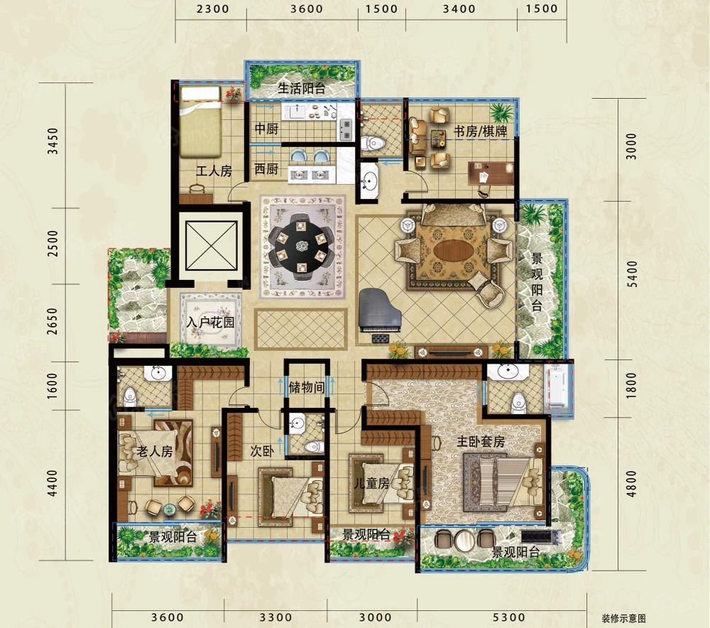 彝海山莊5室2厅3卫户型图