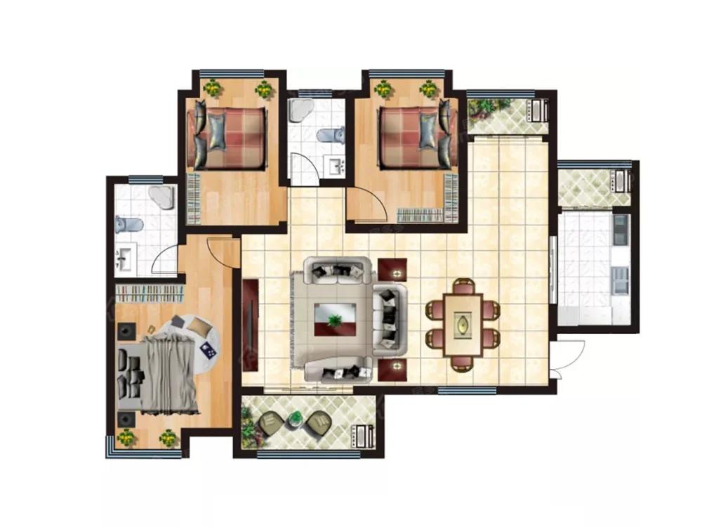 永基状元府3室2厅2卫户型图