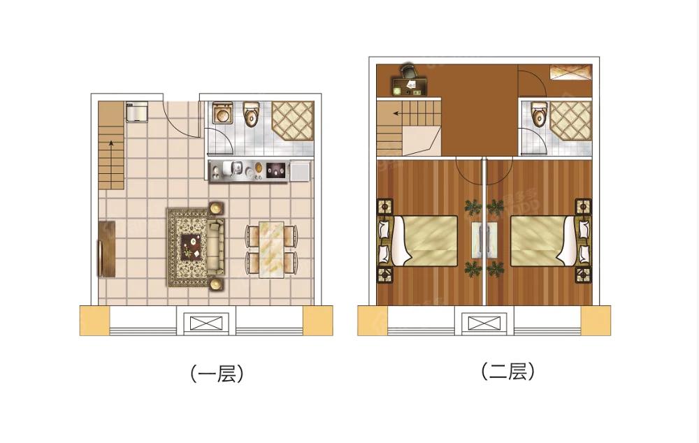 未来城2室2厅2卫户型图