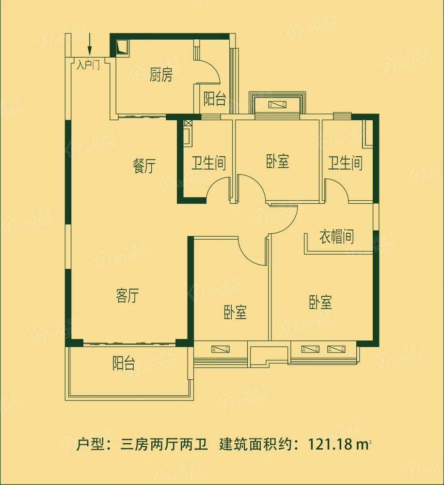 亳州恒大林溪郡3室2厅2卫户型图