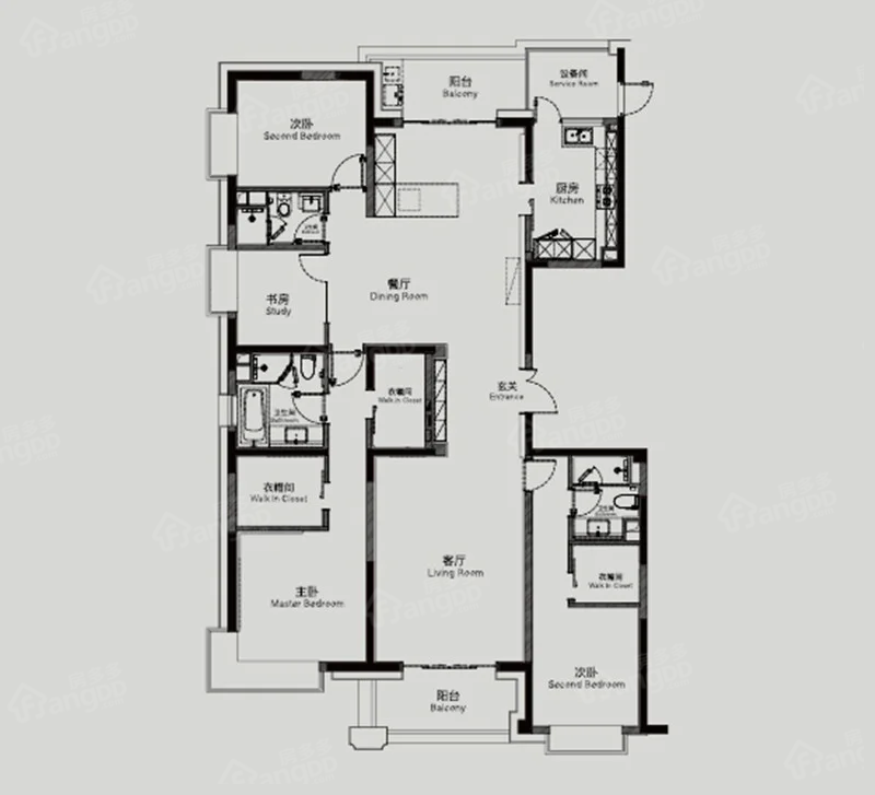 静安天御4室2厅3卫户型图